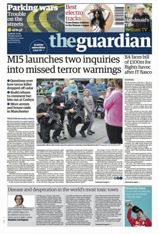 Guardian front page - 29/05/17