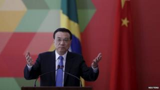 Li Keqiang speaks during a meeting with Brazil's president in Brasilia in May 2015