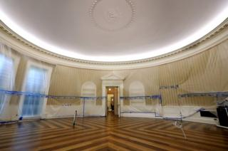 The Oval Office looks a bit different without its typical furnishings