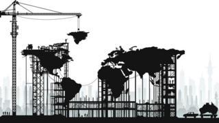 Ilustração do mapa múndi construído sobre um canteiro de obras