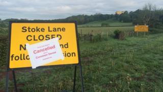 Stoke Lane closure signs, Bristol
