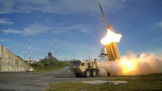 萨德系统发射短程拦截导弹