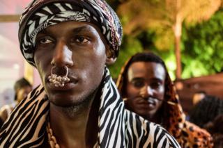 Male models with nose rings at Swahili Fashion Week in Dar es Salaam, Tanzania - Saturday 2 December 2017