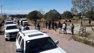 "General view during the police operation at the ranch of US citizen Orson William Black Jr. alleged ""fugitive of the American justice for badual crimes"" and leader of a sect called ""La Comuna"" in Cuauhtemoc, Chihuahua state, Mexico on November 5, 2017."