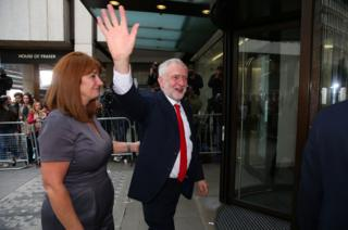 Labour Leader Jeremy Corbyn arrives at Labour Headquarters