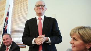 Australia's Prime Minister Malcolm Turnbull with Deputy Prime Minister Barnaby Joyce and Foreign Minister Julie Bishop
