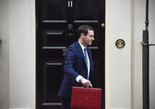 George Osborne with his budget box
