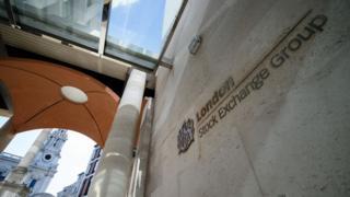 London Stock Exchange sing seen from below