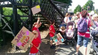 Protestors in Oswestry