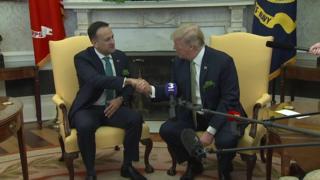 President Trump and Leo Varadkar shake hands