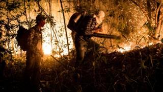Dois homens tentam controlar fogo