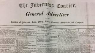 A copy of the Inverness Courier from December 1817