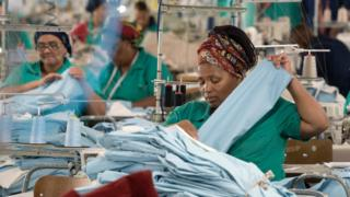 Worker in a garment factory in Cape Town, South Africa