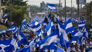 people participate in a national march against the government of Daniel Ortega in Managua, Nicaragua, 09 May 2018. T