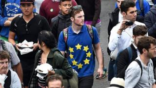 Wimbledon Spectator with EU flag on shirt