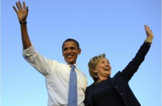 Barack Obama and Hillary Clinton campaign together ahead of the 2008 presidential election
