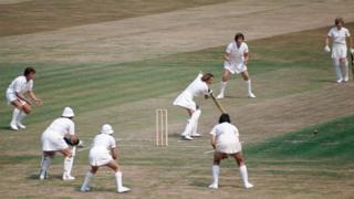 Lynne Thomas in action against Australia