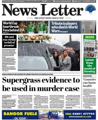 Front page of the News Letter on Wednesday 15 November