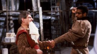 Trevor Peacock (l) as Titus and Hugh Quarshie as Aaron in a BBC production of Titus Andronicus