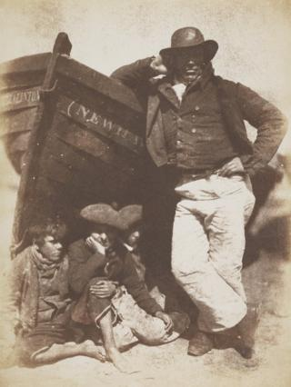Sandy (or James) Linton his boat and bairns c June 1845