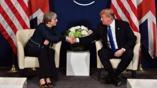 Theresa May and Donald Trump in Davos