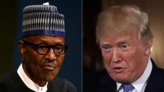 Muhammadu Buhari (left) and Donald Trump. File Photo