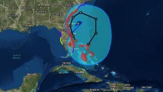 Mapa que mostra em detalhe o provável caminho do furacão pela costa norte-americana