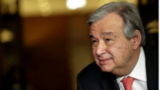 Antonio Guterres speaks to reporters on the selection of the next UN Secretary-General at the UN headquarters in New York on 12 April 2016