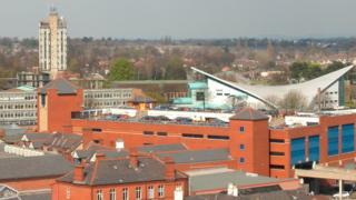 Wrexham town centre buildings