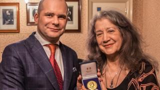 Martha Argerich and RPS chairman, John Gilhooly