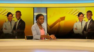 Veronica Narkwor Kwabla, deputy chief editor of new pan-African news channel Africanews in the channel's Pointe-Noire studio