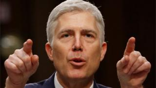 US Supreme Court nominee judge Neil Gorsuch testifies at his Senate Judiciary Committee confirmation hearing in Washington, DC.