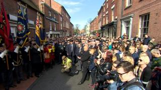 Crowds gathered in the street