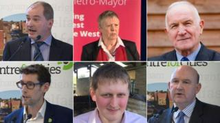 From left to right: Stephen Williams – Liberal Democrats, Lesley Ann Mansell - Labour and Co-operative Party, John Christopher Savage - Independent, Darren Edward Hall - Green Party, Aaron Warren Foot - UK Independence Party (UKIP), Tim Bowles - The Conservative Party