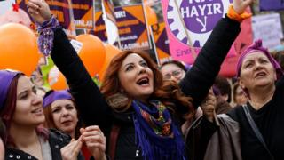 "Women shout slogans and hold placards against the upcoming referendum on the presidential reform during a rally on the occasion of International Women""s Day, in Ankara, Turkey, 08 March 2017"