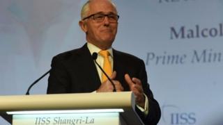 Thủ tướng Turnbull phát biểu trong bài diễn văn nhập đề tại Singapore.