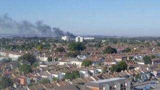 The plume of smoke coming from the fire at Cecil Jones School in Southend