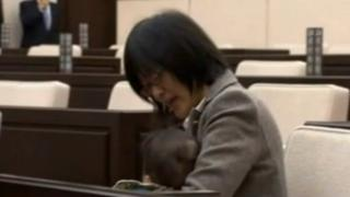 Yuka Ogata with her son
