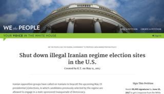 عکس صفحه طوماری در وبسایت کاخ سفید