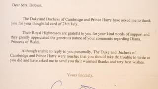 Letter from Duke & Duchess of Cambridge