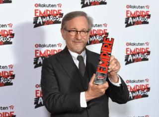 Steve Spielberg with his award