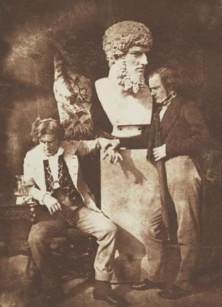David Octavius Hill and Professor James Miller in a photograph known as The Morning After 'He greatly daring dined'