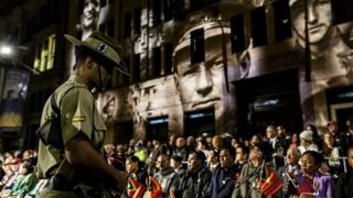 A sentry stands at last year's Anzac Day dawn service in Sydney