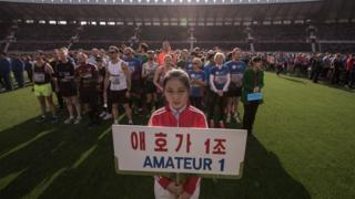 Foreign runners prepare for the Pyongyang marathon