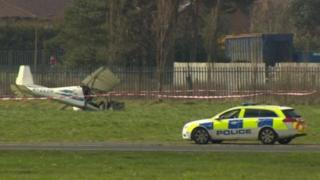 The crash happened at Newtownards airfield, County Down, on 7 April 2015