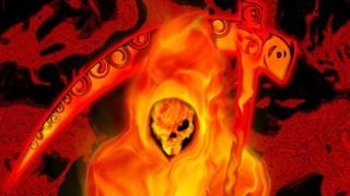 símbolo de la muerte en llamas