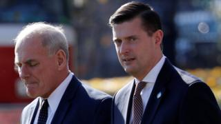 White House Chief of Staff John Kelly (L) and White House Staff Secretary Rob Porter in November 2017