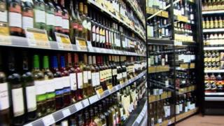 Alcohol on shelves