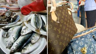 Stacked fish at a market (left) and two Luis Vuitton handbags on right