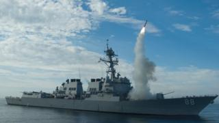 In this image the guided-missile destroyer USS Preble conducts an operational tomahawk missile launch while underway in a training area off the coast of California, on September 29, 2010.